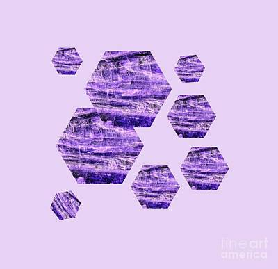 Mixed Media - Purple Kyanite Hexagonal Design  by Rachel Hannah