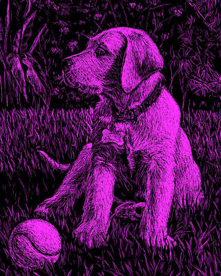 Painting - Purple Labrador Puppy Dog by Irina Sztukowski