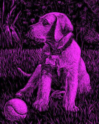 Painting - Purple Labrador Puppy Dog by Irina Sztukowski