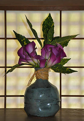 Purple Lilies In Japanese Vase Art Print by Bill Cannon