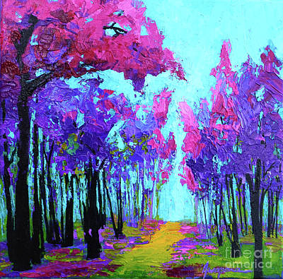Purple Magenta, Forest, Modern Impressionist, Palette Knife Painting Original