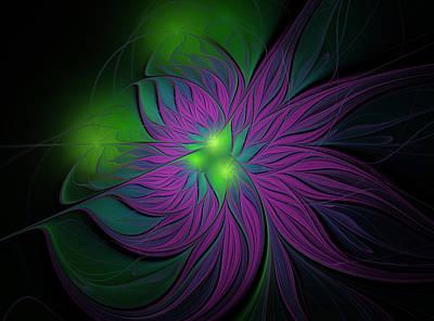 Abstract Digital Art - Purple Magic Flower by Anna Bliokh