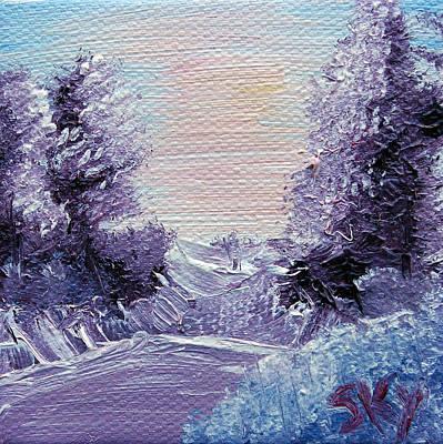 Bob Ross Painting - Purple Majesty Landscape by Jera Sky