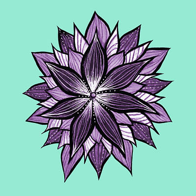 Abstract Flowers Drawings - Purple Mandala Like Ink Drawn Abstract Flower by Boriana Giormova