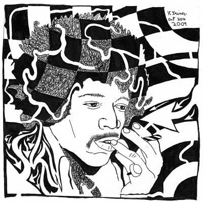 Yfrimer Painting - Purple Maze - Jimi Hendrix by Yonatan Frimer Maze Artist