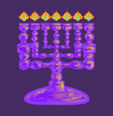Painting - Purple Menorah Flamed by Robert Watson