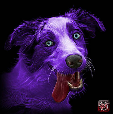 Painting - Purple Merle Australian Shepherd - 2136 - Bb by James Ahn