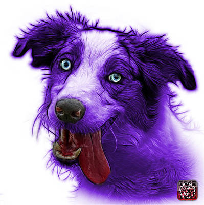 Painting - Purple Merle Australian Shepherd - 2136 - Wb by James Ahn