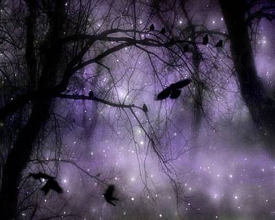 Purple Misted Woods With Crows Art Print by Gothicrow Images