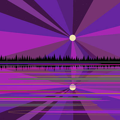 Digital Art - Purple Moon Rise by Val Arie