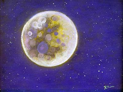 Outer Space Painting - Purple Moon by Robert Price