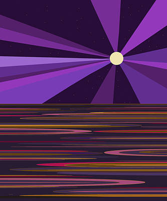 Digital Art - Purple Moonbeams by Val Arie