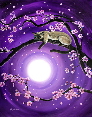Sakura Painting - Purple Moonlight Sakura by Laura Iverson