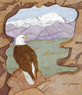 Snow Scene Landscape Drawing - Purple Mountain Majesty by Judy Cheryl Newcomb