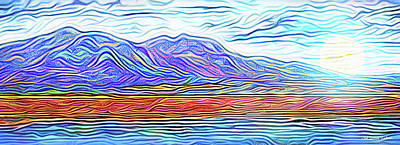 Digital Art - Purple Mountain Moonrise - Boulder Colorado by Joel Bruce Wallach