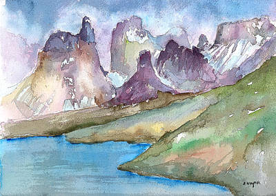 Outdoor Art Mixed Media - Purple Mountains by Arline Wagner