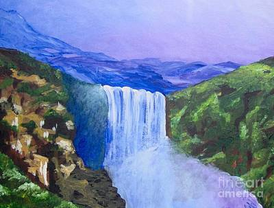 Art Print featuring the painting Purple Mountains by Saundra Johnson