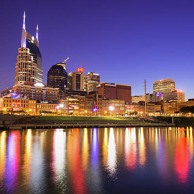 Photograph - Purple Nashville - Tennessee Skyline Photography by Gregory Ballos