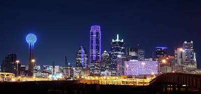 Photograph - Purple Night Dallas Skyline 020218 by Rospotte Photography