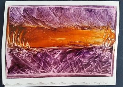 Mixed Media - Purple, Orange Abstract/landscape by Lorraine Bradford