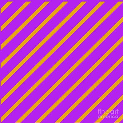 Digital Art - Purple Orange Angled Stripes by Susan Stevenson