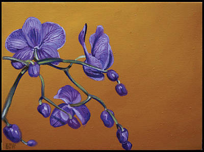 Edward Williams Painting - Purple Orchids by Edward Williams