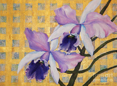 Purple Orchids  On Gold Background Original by Sharon Nelson-Bianco