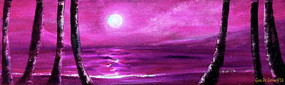 Painting - Purple Panoramic Seascape by Gina De Gorna