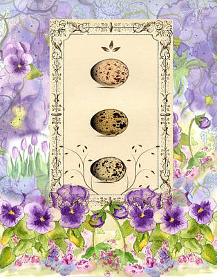 Painting - Purple Pansies And Eggs  by Cathie Richardson