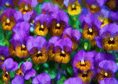Digital Art - Purple Pansies by Charmaine Zoe