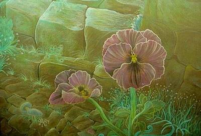 Drawing - Purple Pansies by Jude Cowell