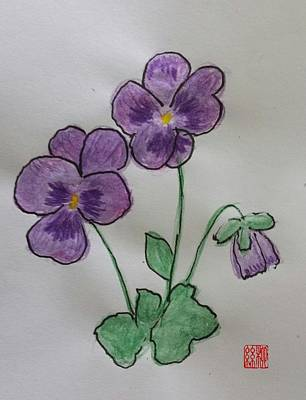 Painting - Purple Pansies by Margaret Welsh Willowsilk