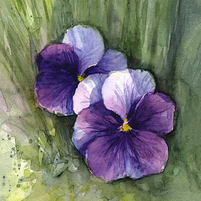 Purple Pansies Watercolor Print by Olga Shvartsur