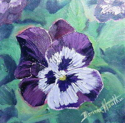 Art Print featuring the painting Purple Pansy by Bonnie Heather