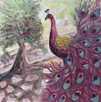 Purple Painting - Purple Peacock by Roxy Rich