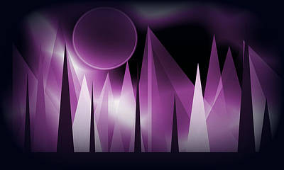 Digital Art - Purple Peaks Landsscape by Kathleen Sartoris