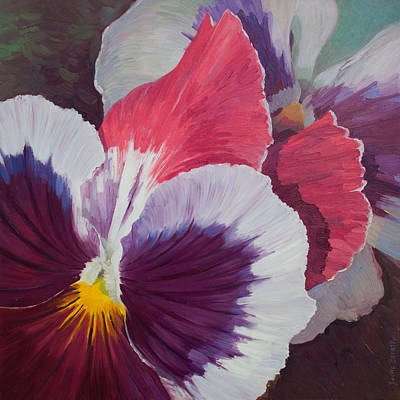 Painting - Purple Pansies by Judith Barath