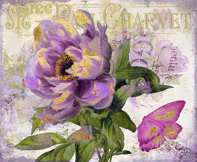 Pink And Purple Painting - Purple Peony With Gold by Mindy Sommers