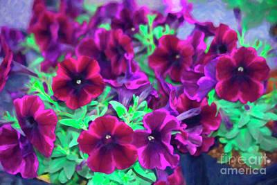 Digital Art - Purple Petunias by Donna L Munro