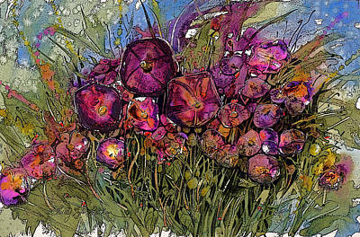 Shirley Digital Art - Purple Petunias by Shirley Sykes Bracken