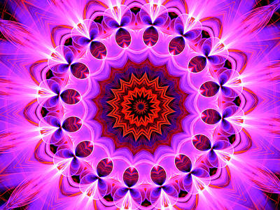 Digital Art - Purple, Pink And Orange Kaleidoscope by Ernst Dittmar