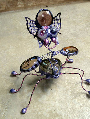 Sculpture - Purple Pink Heart Bug by Maxine Grossman