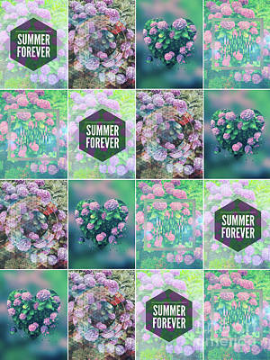 Photograph - Purple Pink Hydrangea Geometric Patchwork Quilt by Beverly Claire Kaiya