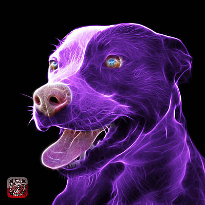 Mixed Media - Purple Pit Bull Fractal Pop Art - 7773 - F - Bb by James Ahn