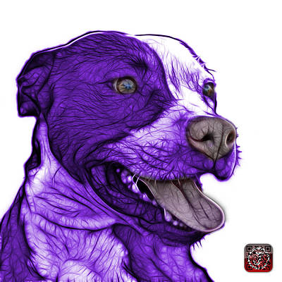 Mixed Media - Purple Pit Bull Fractal Pop Art - 7773 - F - Wb by James Ahn