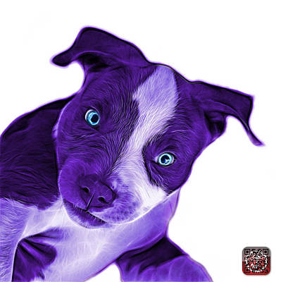 Painting - Purple Pitbull Dog Art 7435 - Wb by James Ahn