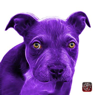 Painting - Purple Pitbull Puppy Pop Art - 7085 Wb by James Ahn
