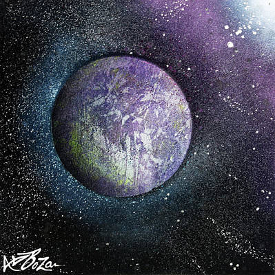 Planet System Painting - Purple Planet by Laura Barbosa