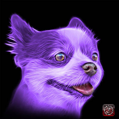 Painting - Purple Pomeranian Dog Art 4584 - Bb by James Ahn