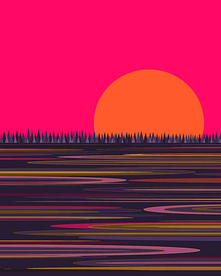 Digital Art - Purple Pond And Pink Sky by Val Arie